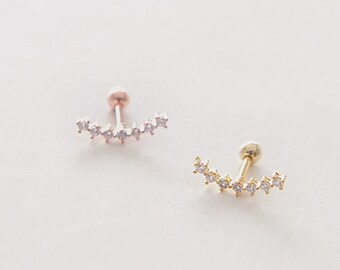 Curved Bar Piercing, Cartilage earring/ CZ  tragus earring, Crescent Piercing/ Helix, Conch, Tragus earring/ Sold as one