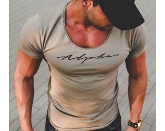 997dbf1d644d Mens T-shirt Alpha Male Slim Fit Designer T shirts Street Fashion Popular  Brand Shirts Online Muscle Fitted Gifts For Him MD885