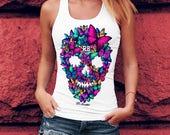 Butterflies Skull T shirt Sugar Skull Shirt Butterfly Shirt Designer T-shirt Cool Tees For Women Sugar Skull Gifts Ideas For Her WD044