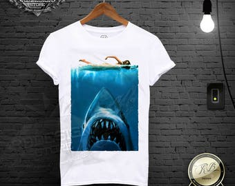 f4d6f83225ee Jaws T Shirt Movie Poster shirt Cool t shirts Mens jaws tshirt Shark Shirt  Shark Clothing Mens Diver Gift tshirt Jaws Tee Shirt MD08