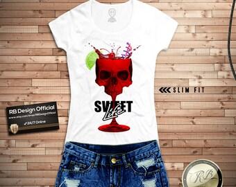 90bb61484f3b Womens T-shirt / Skull Tank Top / Cocktail Tee Shirt / Tropical VIbes Tee  Drinking Tee Funny Shirts Womens Graphic Tee Fashion T-shirt WD220