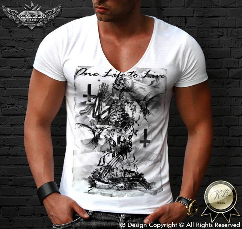 82beb9468 Skeleton Prayer Deep V neck T-shirt / Inverted Cross T shirt / | Etsy