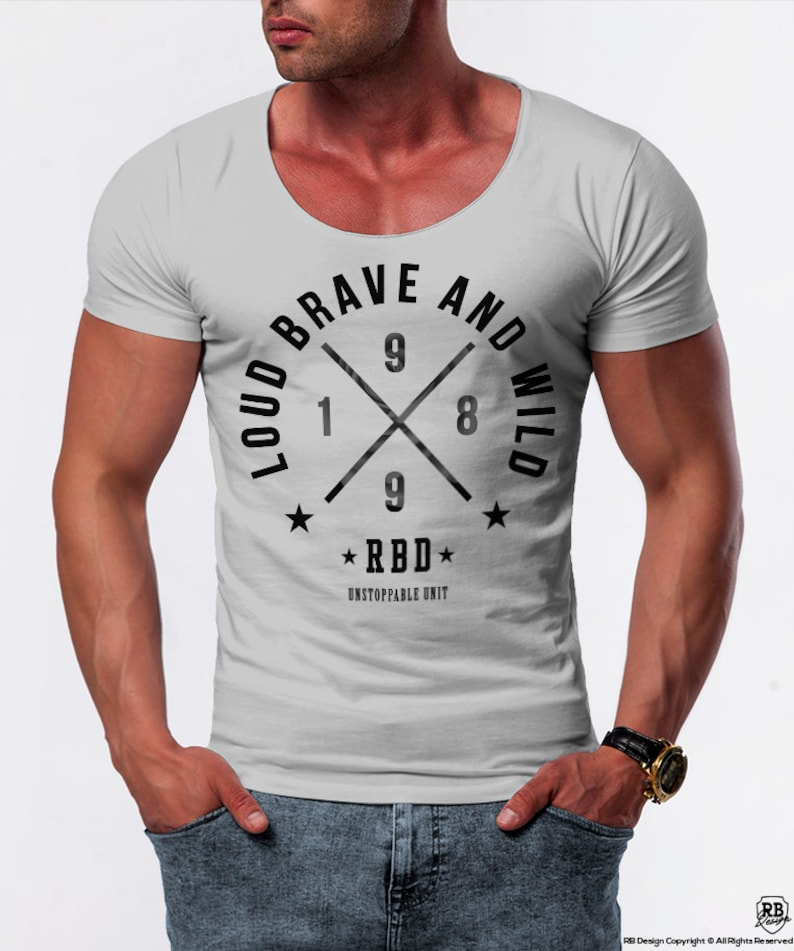 289276bb Mens T-shirt Street Style Graphic Tee Slim Fit Muscle Brand | Etsy