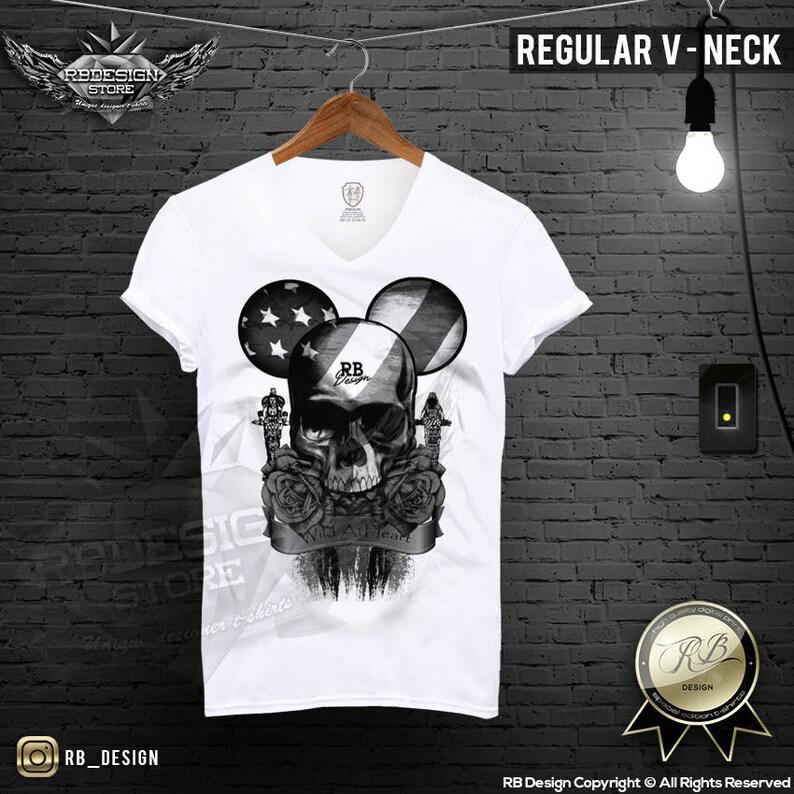 4335c61d Mickey Mouse Skull Tshirt / Black Roses Shirt / Wild At Heart | Etsy
