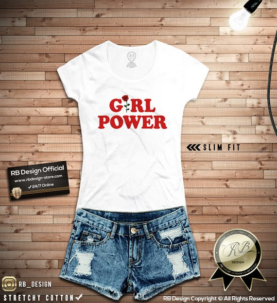 0ec678681 Girl Power Shirt Womens Graphic Tee Rose Feminist Tank Top | Etsy
