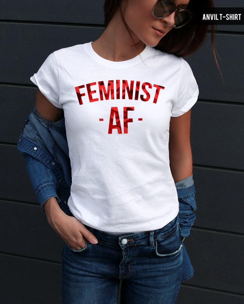 8215233aec Feminist Shirt / Red Camouflage Feminist Tshirt / Cool Feminist Tee Tumblr  Shirt / HQ Stretch Cotton Tee / Feminist AF Shirt WTD06R