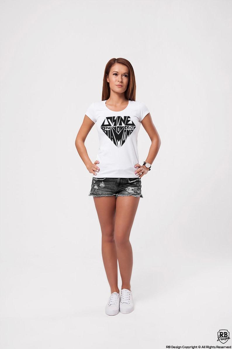 bcbcd478f5 Diamond T Shirts / Womens Diamonds Shirts Cool Saying Tees Shine on You  Crazy Diamond Fashion Tank Tops Designer Graphic Tee WD297 Black