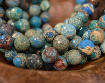 Aqua Terra Jasper 10mm,12mm Faceted Round Gemstone Bead - 15 inch strand
