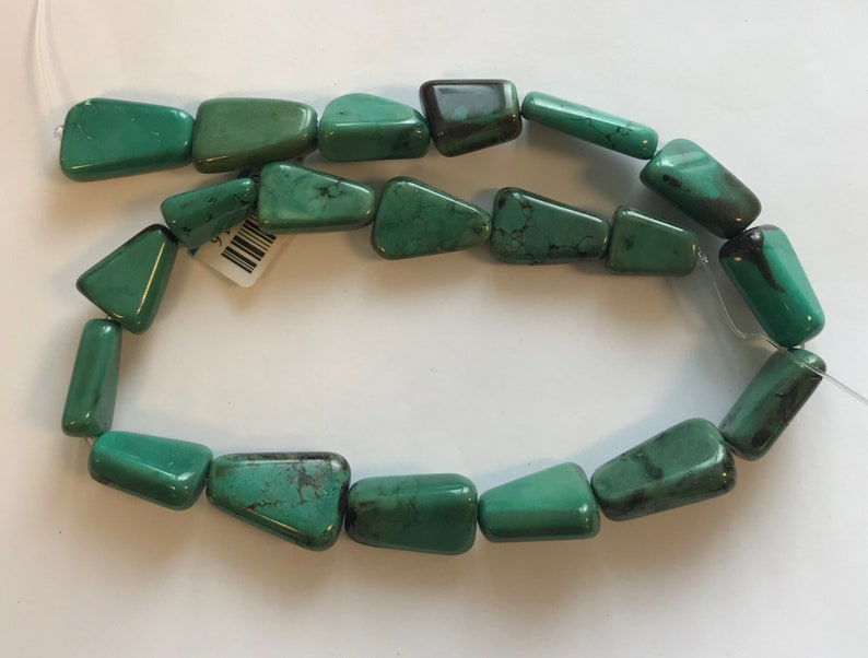 12-16 Stabilized Turquoise x 18-28 mm Flat Trapezoid Gemstone Beads---15.5--1 strand3 strands 5-10 x
