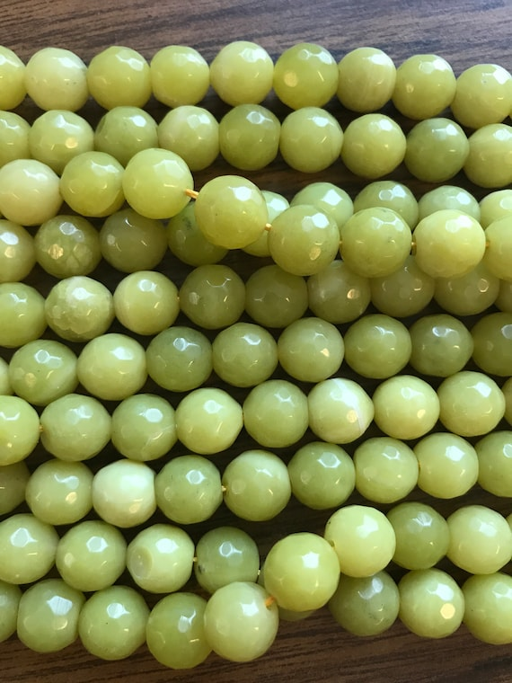 Bright Yellow Dyed Jade Faceted Round Gemstone Loose Beads Size14mm 15.5/'/' Long