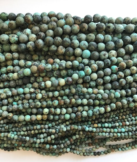 15 inch strand African Turquoise Faceted 10mm round bead
