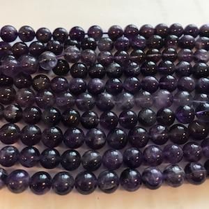 Natural amethyst 6mm Round Gemstone Beads--15.5--1 strand3 strands