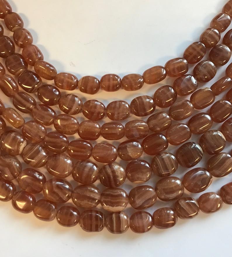 x Natural Rhodochrosite 10-8 mm Flat Oval Gemstone Bead--15.5 inch strand-1 strand3 strands 12-10