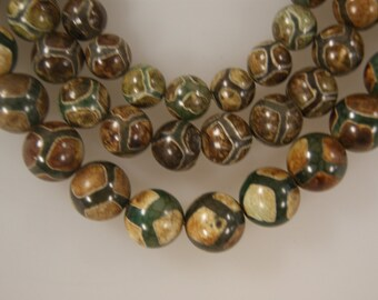 Wholesale 12mm 15mm Brown Dzi Agate Faceted Round Gemstone Beads-15 inch strand
