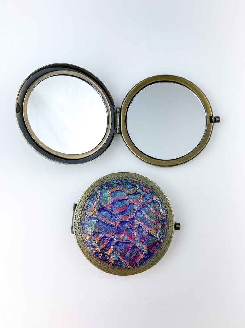 One of a Kind Compacts Multicolor Dichroic Glass Compact Mirror