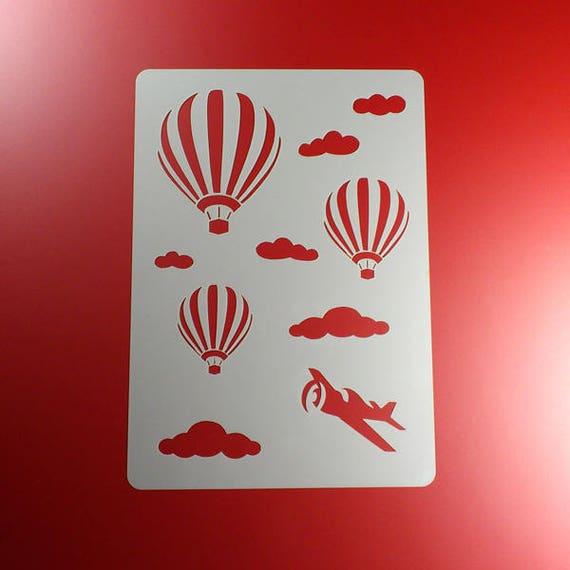 Schablone Heißluftballon Wolken Flugzeug Ba05