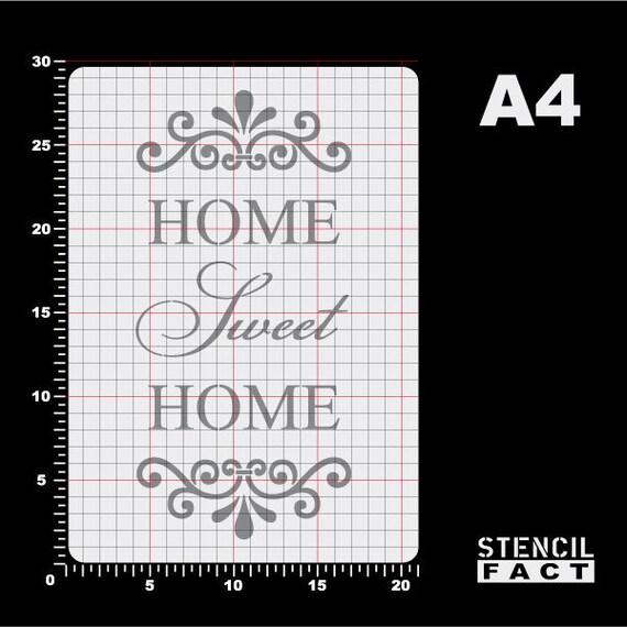 """297/x 210/mm Shabby Chic A4-Format f/ür M/öbel// W/ände Vintage Kunststoff-Schablone mit Schriftzug /""""Home Sweet Home/"""""""