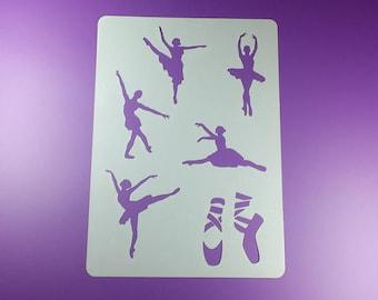 Stencil ballerina Ballet dancer 6 motives-BA13