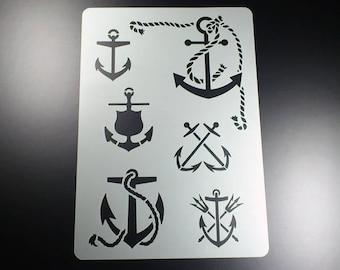 Template Anchor Maritim 6 motifs anchor Sea-BA44