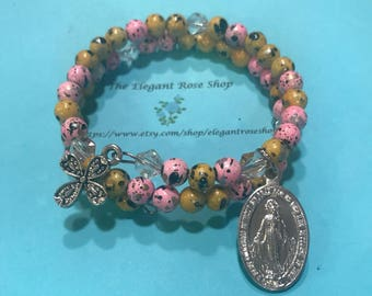 Beautiful Rosary Wrap Bracelet in Pink and Yellow with Miraculous Medal
