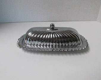 Vintage Silver Covered Butter Dish