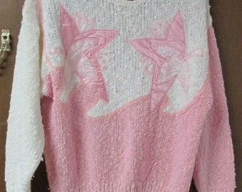 Vintage Needles & Yarn Pink and White Women's Sweater Size LARGE