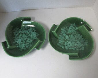 Set of 2 Vintage Royal Haeger Green Ashtrays R860