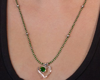 Silver and Green Beaded Necklace