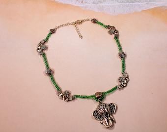 Claddagh and Celtic Knot Elephant Choker and Earring Set