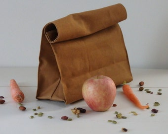 Canvas Reusable Brown Lunch Bag