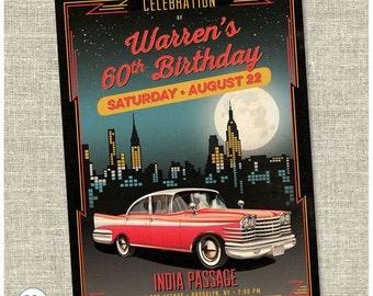 Vintage Car Birthday Invitation Card
