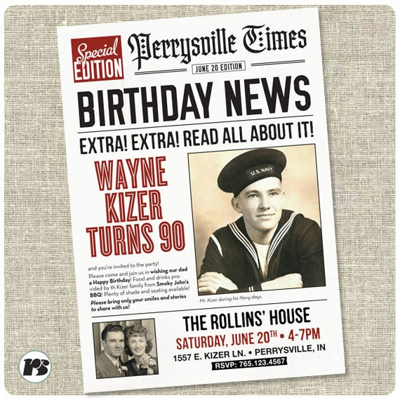 Newspaper Style Birthday Invitation Card Printable
