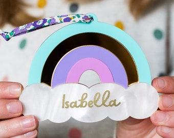 Personalised Rainbow Keepsake Gift ,Personalised Rainbow Sign, Purple Rainbow Decoration, Gift For Rainbow Baby, Personalised Newborn Gift