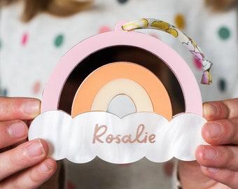 Personalised Pink Rose Gold Rainbow, Personalised Rainbow Keepsake , Rainbow Decoration, Gift For Rainbow Baby, Personalised Newborn Gift