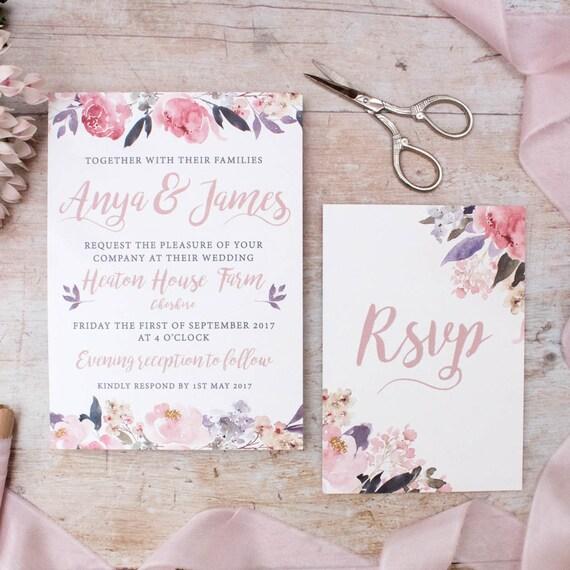 Blumen Hochzeit Einladung Rustikale Hochzeit Einladen Land Etsy