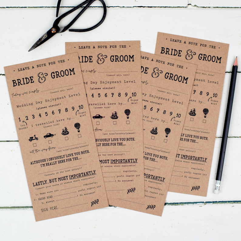 Funny Wedding Bride And Groom Score Cards Mr And Mrs Advice Etsy