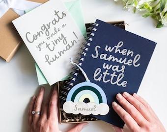 Personalised New Baby Gift, Newborn Baby Gift Box, New Mom and Baby Gift, Tiny Human Gift, Baby Journal Gift, Rainbow Baby Gift Set