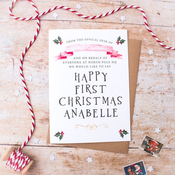Christmas Greetings Letter.Baby First Christmas Card Letter From Santa Baby Christmas Card Personalised Card From Santa Baby Christmas Keepsake