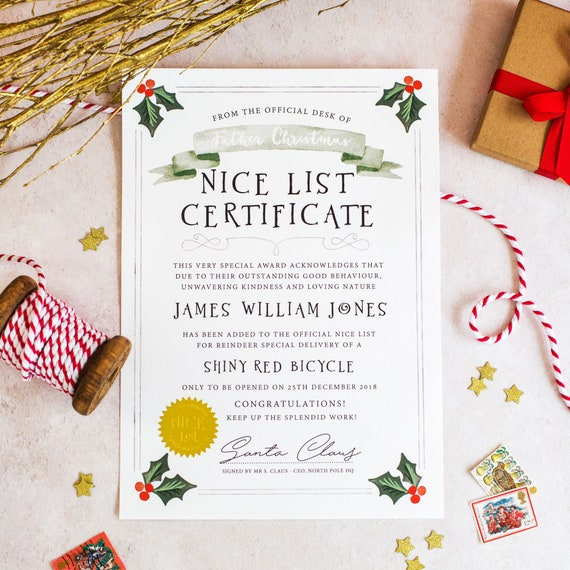 Christmas Certificate.Christmas Letter From Santa Santa Claus Certificate Personalised Christmas Letter Father Christmas Letter Nice List Certificate