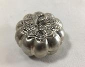 Vintage Silver Pumpkin Box, Cambodian Khmer royal silver, (SBP1), jewelry holder, ring box, trinket, keepsake, snuff, stash, collectible,