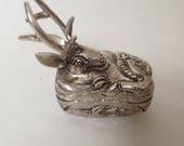 Silver Deer Box, collectible, jewelry, ring box, trinket, handmade keepsake, figurine, statue, Cambodian silver art, artifact, DE2