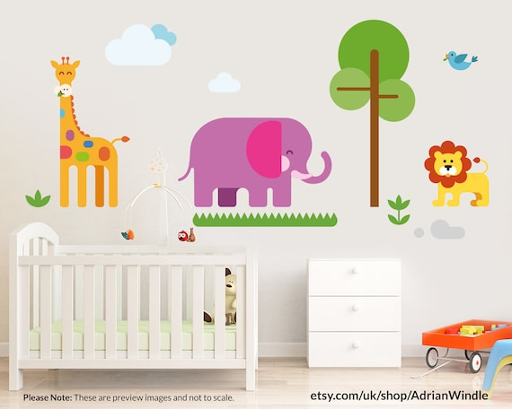 Childs Safari Theme Wall Decal Set Instant Download Etsy