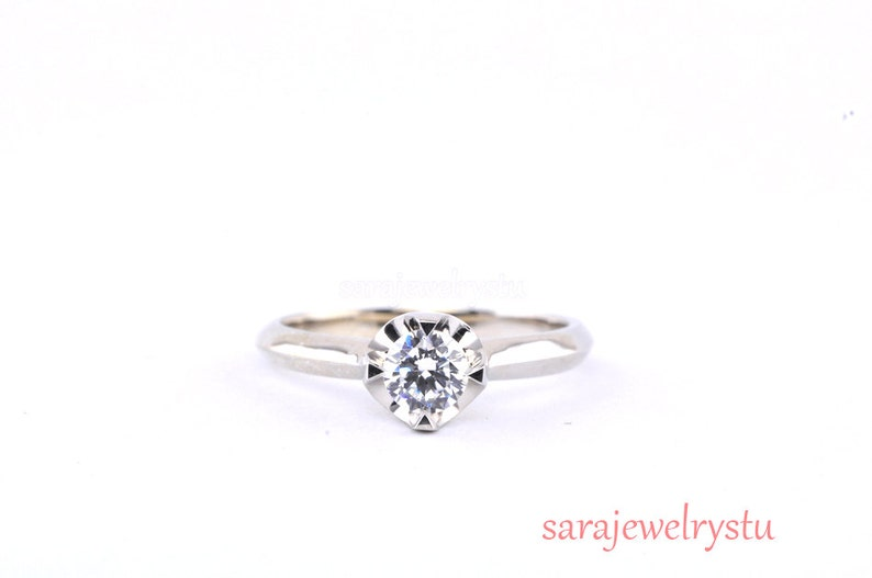 Engagement Ring In Platinum Or 14k Simple Beautiful Diamond Etsy