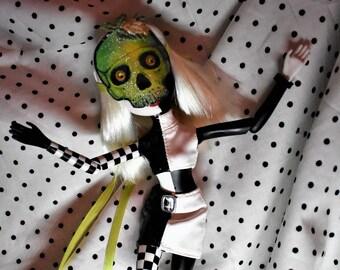 Custom Mask Skully Skeleton for Bratz or Bratzilla  Green silvered Skull Paper Mache Green Ribbon Ties OOAK Flower embellishment