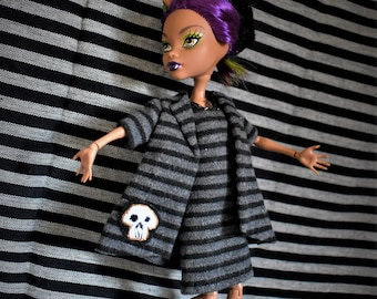 ON HOLD for LK Monster High Custom Gray Flannel Suit with Black Stripes Swing Jacket with Skull Pocket Sleeveless Sheath dress Spider Brooch