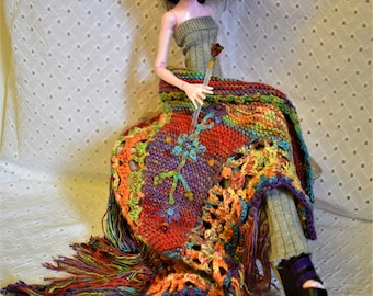 """BJD 17"""" and Taller Custom SomeWhere Over the Boho Rainbow Shawl Beaded Fringe shawl pin Micro Knit & Floral Applique 17"""" BJD or taller dolls"""