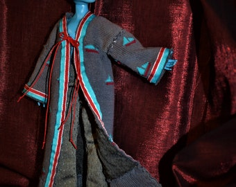 Monster High  Male Manster Lounge Wear Robe with Loose gray pant Sailing boat motif Soxy Couture