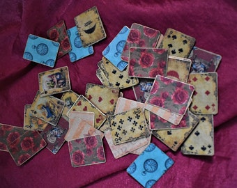 Miniature Playing Cards Alice in Wonderland Vintage Deluxe style Fabulous Illustrations One Third - One Quarter Scale OOAK -Matching Box