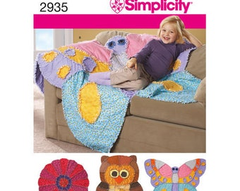 RAG QUILT Simplicity 2935 Rug Blanket Sewing Pattern Butterfly, Owl, Flower Patterns, Children's Throw