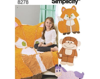 RAG QUILT Simplicity 8278 Singer Sewing Pattern Fox, Horse, Monkey Patterns, Children's Throw, Rug or Quilt